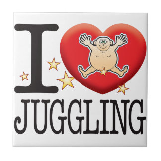Juggling Love Man Small Square Tile