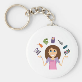 Juggling Mom (Brunette) Key Ring