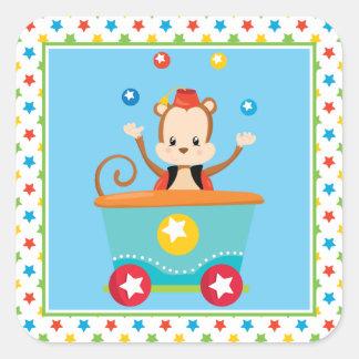 Juggling Monkey | Circus Train | Circus Theme Square Sticker