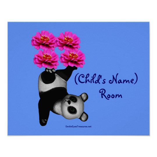 Juggling Panda Kids Room Personalised Wall Poster