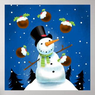 Juggling Snowman Print