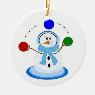 Juggling Snowman Round Ceramic Decoration