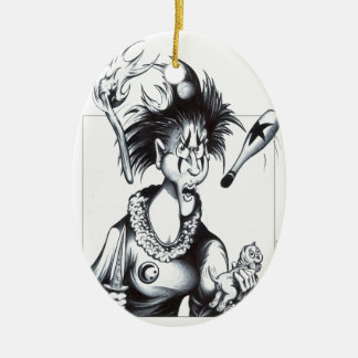 Jugs the Juggler Double-Sided Oval Ceramic Christmas Ornament