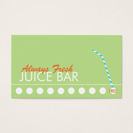 Juice Bar Customer Loyalty Punch Business Card