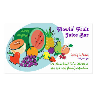 Juice Bar & Smoothies_totally fruity_blue oval Business Cards