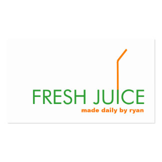 Juicing Juice Bar Company Orange Straw Logo Pack Of Standard Business Cards