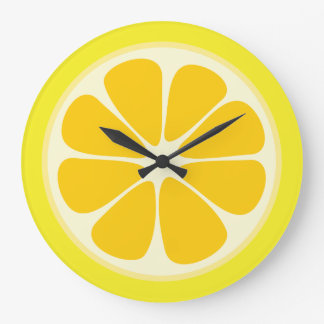 Juicy Citrus Lemon Tropical Fruit Slice Kitchen Large Clock