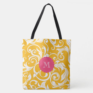 Juicy Citrus Orange Swirl Pink Monogram Tote Bag