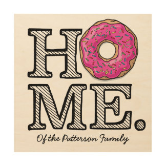 Juicy Delicious Pink Doughnut House Warmer Wood Canvas