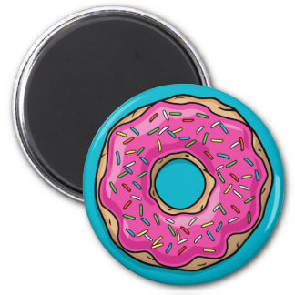 Juicy Delicious Pink Sprinkled Donut 6 Cm Round Magnet