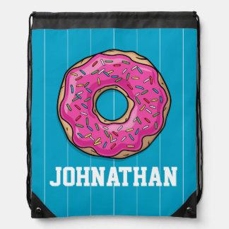 Juicy Delicious Pink Sprinkled Donut Drawstring Bag