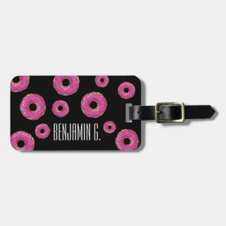 Juicy Delicious Pink Sprinkled Donut Luggage Tag