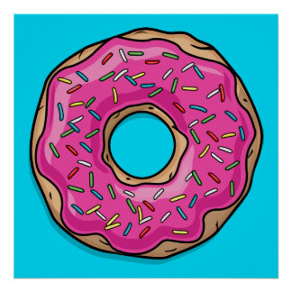 Juicy Delicious Pink Sprinkled Donut Poster