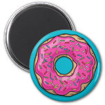 Juicy Delicious Pink Sprinkled Doughnut 6 Cm Round Magnet