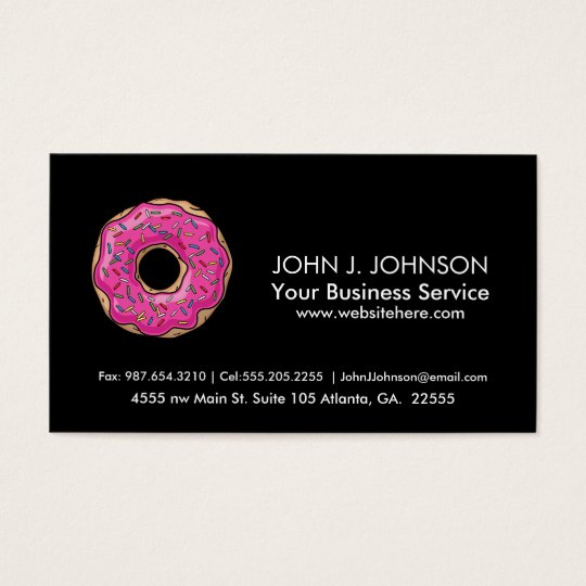 Juicy Delicious Pink Sprinkled Doughnut Business Card