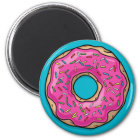 Juicy Delicious Pink Sprinkled Doughnut Magnet