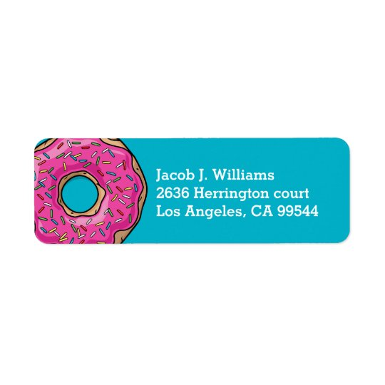 Juicy Delicious Pink Sprinkled Doughnut Return Address Label