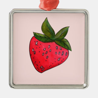 Juicy Fruity Red Strawberry on Pink Christmas Ornament