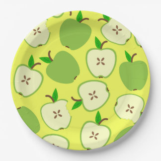 Juicy green apples for good appetite paper plate