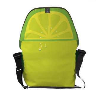 Juicy Lime Slice Twist Messenger Bags