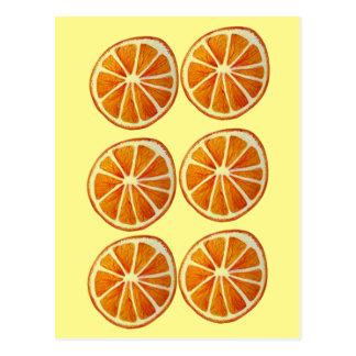 Juicy orange slice watercolor art pattern pop art post card