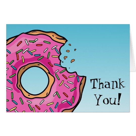 Juicy Pink Doughnut Custom Thank You Card