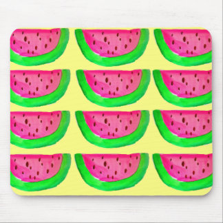 Juicy pink  watermelon fruit pattern on lemon mouse mat
