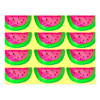 Juicy pink  watermelon fruit pattern on lemon postcard