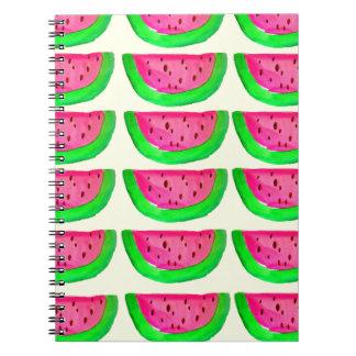 Juicy pink  watermelon fruit pattern on lemon spiral notebook