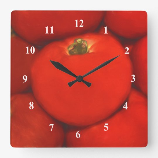 Juicy Red Homegrown Garden Tomatoes Square Wall Clock