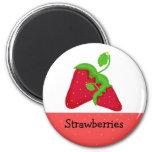 Juicy Red  Strawberries 6 Cm Round Magnet