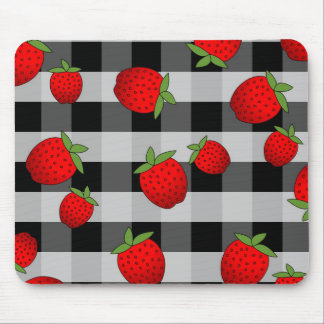 Juicy Strawberry on Check - Black and white Mouse Mat