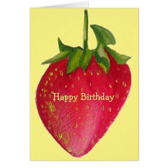 Juicy Strawberry retro fruit birthday macro art Card
