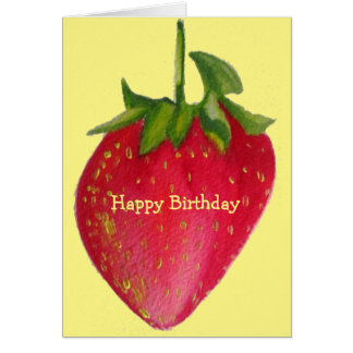 Juicy Strawberry retro fruit birthday macro art Greeting Card