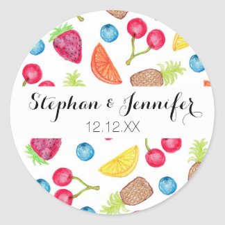 Juicy Watercolor Hand Painted Fruit Pattern Classic Round Sticker
