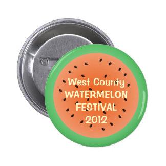 Juicy watermelon half red summer custom event 6 cm round badge