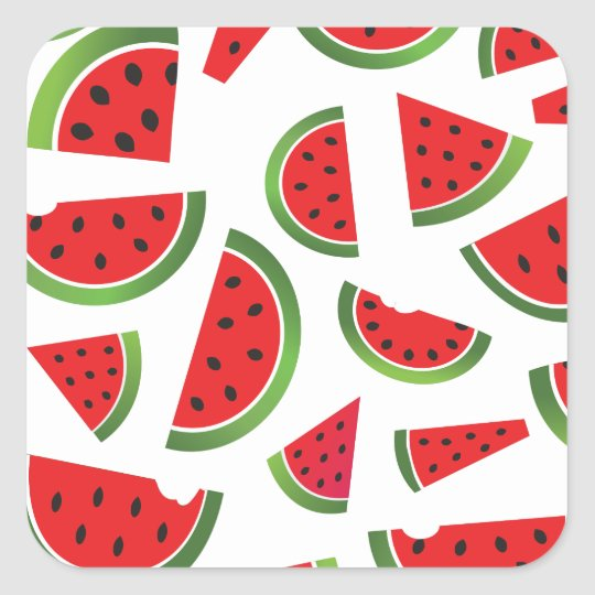 Juicy Watermelon Slices Fruit Pattern Square Sticker