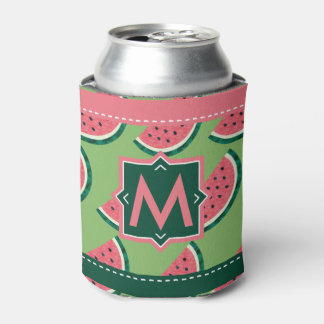 Juicy Watermelon Summer BBQ Monogram Personalized Can Cooler