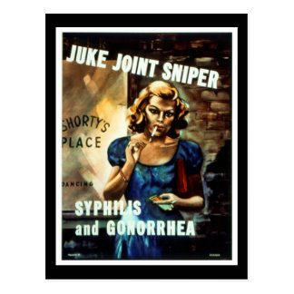 Juke Joint Sniper WWII Warning to Soldiers Postcard