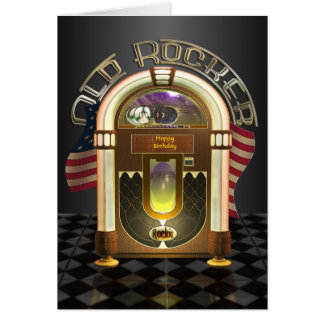Jukebox Old Rocker Customizable Greetings Card