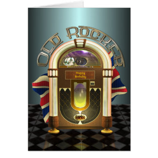 Jukebox Old Rocker UK Customizable Greetings Card