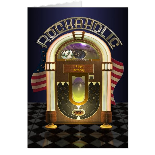 Jukebox Rockaholic Customisable Greetings Card