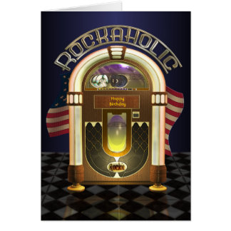 Jukebox Rockaholic Customizable Greetings Card
