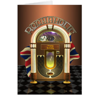 Jukebox Rockaholic UK Customizable Greetings Card