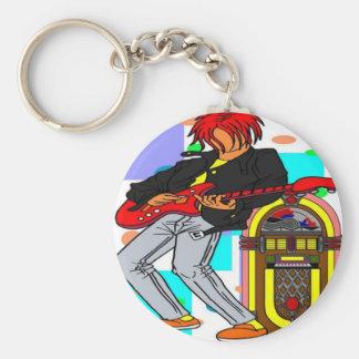 Jukebox Rocker Basic Round Button Key Ring