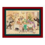Jul Goat at the Christmas Table Postcard