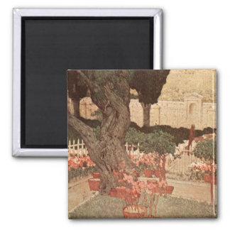 Jules Guerin Garden Gethsemane Art Tree Israel Square Magnet
