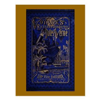 Jules Verne A Floating City Antique Book Cover Postcard
