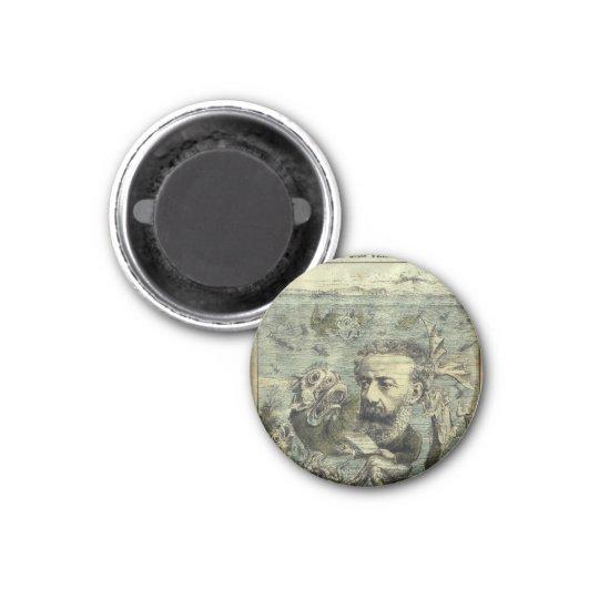 Jules Verne Algerie Illustration 3 Cm Round Magnet