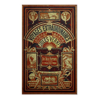 Jules Verne Old Book Cover Poster